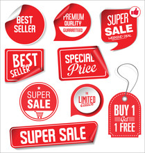 Sale Stickers And Tags Red Design Illustration Sticker