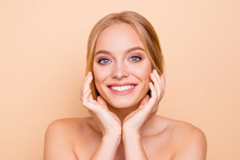 Nude Charming Pretty Cute Toothy Cheerful Girl  Beaming Smile Perfect Face Skin After Detox Vitamins Collagen Holding Hands On Cheek  On Beige  Wellness Wellbeing Concept Sticker