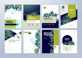 Set of brochure and annual report cover design templates on the subject of nature, environment and organic products. Vector illustrations for flyer layout, marketing material, magazines, presentations - 205957808