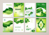 Set of brochure and annual report cover design templates on the subject of nature, environment and organic products. Vector illustrations for flyer layout, marketing material, magazines, presentations - 205959239