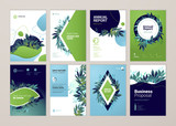 Set of brochure and annual report cover design templates on the subject of nature, environment and organic products. Vector illustrations for flyer layout, marketing material, magazines, presentations - 205960025