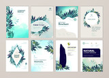 Set of brochure and annual report cover design templates on the subject of nature, environment and organic products. Vector illustrations for flyer layout, marketing material, magazines, presentations - 205961051