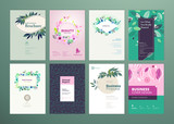 Set of natural product brochure, annual report, flyer design templates in A4 size. Vector illustrations for beauty, organic products and cosmetics presentation. - 205963071