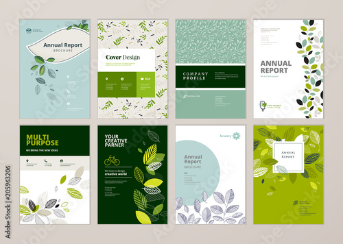 Set of brochure and annual report cover design templates on