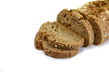 slices of black bread with pumpkin seed and sesame isolated on white background