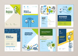 Set of brochure and annual report cover design templates of nature, green technology, renewable energy, sustainable development, environment. Vector illustrations for flyer layout, marketing material. - 205964657