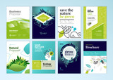 Set of brochure and annual report cover design templates on the subject of nature, environment and organic products. Vector illustrations for flyer layout, marketing material, magazines, presentations - 205965052