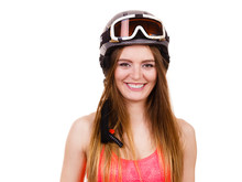 Woman Wearing Ski Suit And Helmet  Goggles Sticker