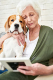 Portrait of sad senior woman holding photograph and remembering husband while sitting in comfortable armchair at home hugging dog - 205974274