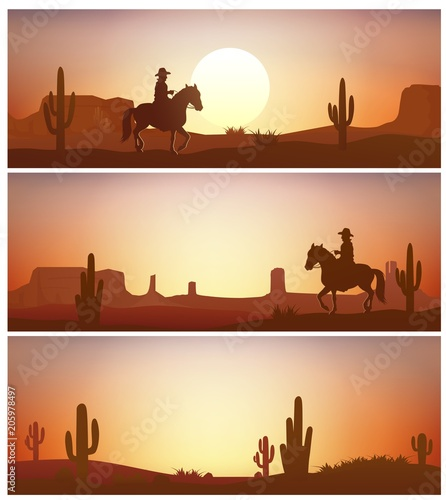 Cowboy riding horse against sunset background. Wild Western silhouettes banners