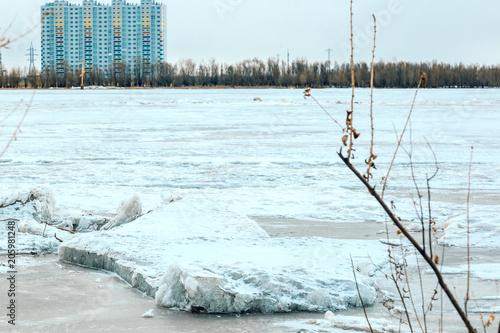 Aluminium Lichtblauw Landscape on a frozen river