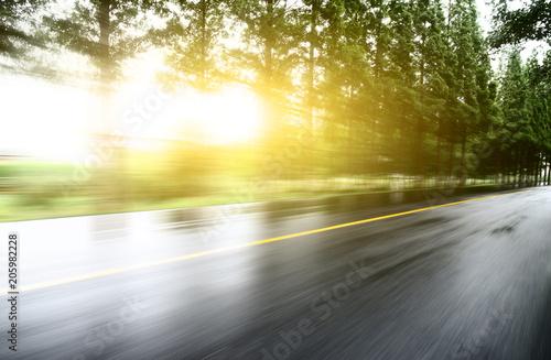 Fotobehang Zwavel geel asphalt road with tree lawns under sunshine