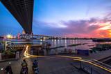 Bangkok City - Beautiful sunset view of Bhumibol Bridge,landmark Thailand