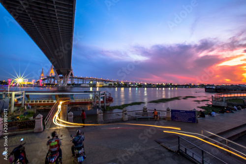 Poster Bangkok City - Beautiful sunset view of Bhumibol Bridge,landmark Thailand