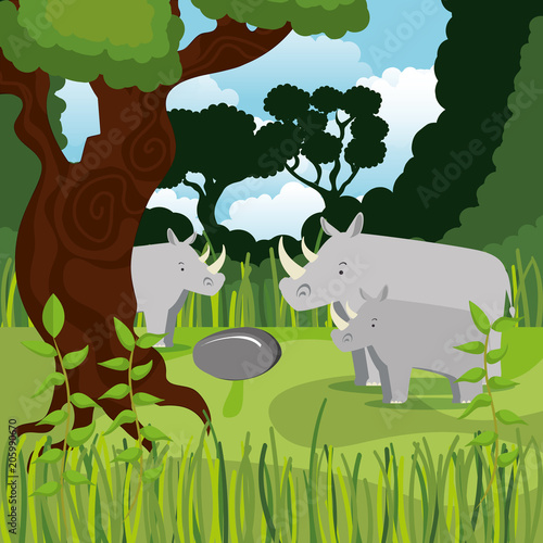 Fotobehang Zoo wild animals in the jungle scene vector illustration design