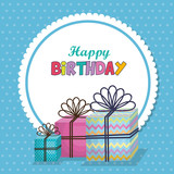 happy birthday card with gifts vector illustration design - 205991661