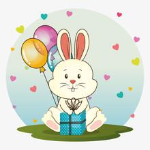 Happy Birthday Card  Cute Rabbit  Illustration Design Sticker