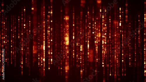 Kolumny pomarańczowych symboli cyfrowych kodu programu HEX