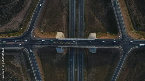 Aerial top down view of an interstate roadway in south africa