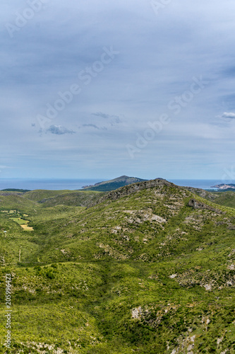 Foto Murales Mallorca, Green living springtime nature landscape of mountainous coastline in eastern island holiday region
