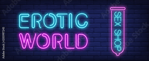 Erotic world of sex shop neon sign © RedlineVector