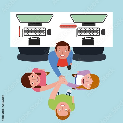 Wall mural young group people looking up in the office vector illustration