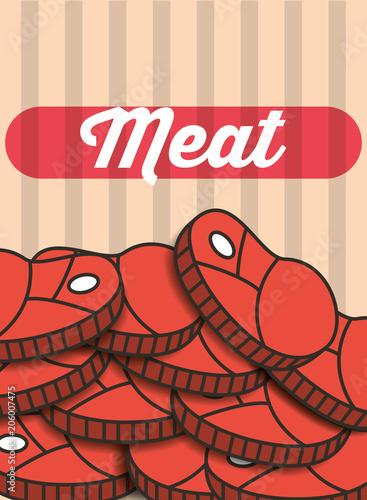 Plexiglas Vintage Poster meat steak pieces menu restaurant poster vector illustration