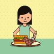 girl cartoon eating sandwich bacon on dish vector illustration