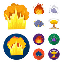 Flame Sparks Hydrogen Fragments Atomic Or Gas Explosion Explosions Set  Icons In Cartoonflat Style  Symbol Stock Illustration Web Sticker
