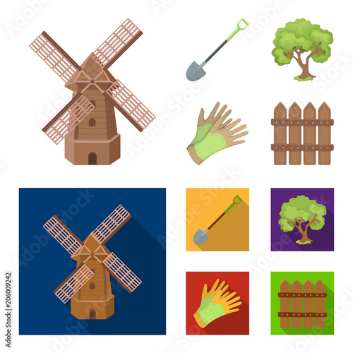 A shovel with a handle, a tree in the garden, gloves for working on a farm, a wooden fence. Farm and gardening set collection icons in cartoon,flat style vector symbol stock illustration web.