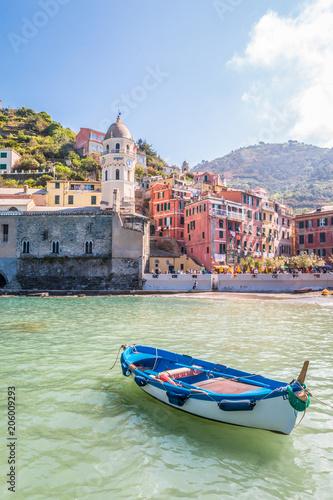 In de dag Liguria Boats in the old town of Vernazza in Cinque Terra Italy