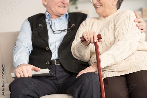 Close-up of senior couple