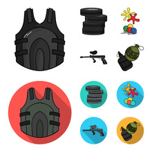 Competition Contest Equipment Tires Paintball Set  Icons In Cartoonflat Style  Symbol Stock Illustration Web Sticker