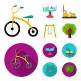 Airplane on a spring, swings and other equipment. Playground set collection icons in cartoon,flat style vector symbol stock illustration web.