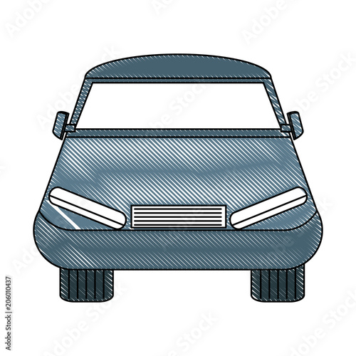 Sticker car icon over white background, colorful design. vector illustration