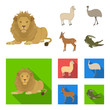 lama, ostrich emu, young antelope, animal crocodile. Wild animal, bird, reptile set collection icons in cartoon,flat style vector symbol stock illustration web.
