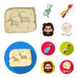 Primitive, fish, spear, torch .Stone age set collection icons in cartoon,flat style vector symbol stock illustration web.