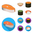 Bowl of soup, caviar, shrimp with rice. Sushi set collection icons in cartoon,flat style vector symbol stock illustration web.