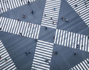 People walking on Crossing city street  crosswalk top view