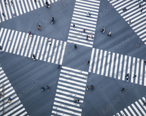 People walking on Crossing city street  crosswalk top view - 206011690
