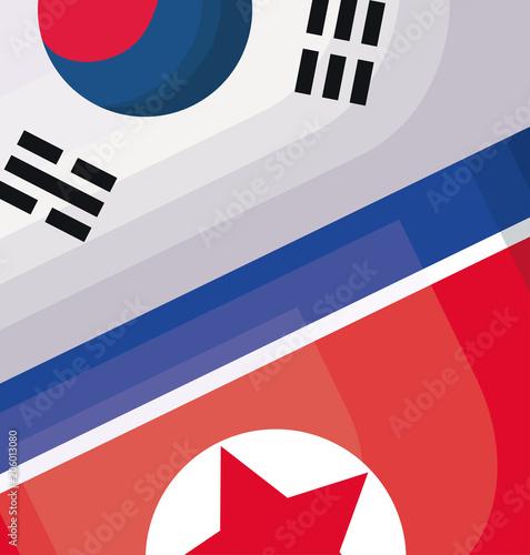 north korea and south korea flags, colorful design. vector illustration