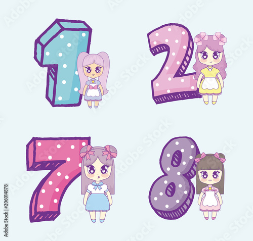 Icon set of kawaii anime girls and numbers over blue background, colorful design. vector illustration - 206014878