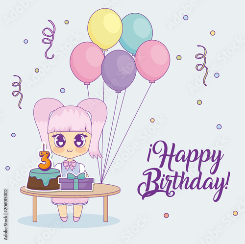 Happy birthday design with kawaii anime girl with table with cakes and gift boxes over background, colorful design. vector illustration - 206015002