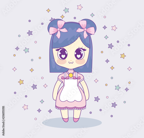 kawaii anime girl with decorative stars around over pink background, colorful design. vector illustration - 206015018