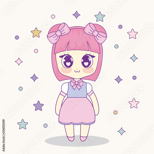 kawaii anime girl with decorative stars around over pink background, colorful design. vector illustration - 206015049
