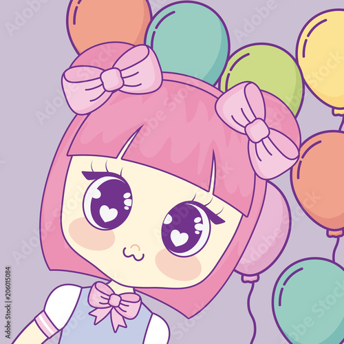 Kawaii anime girl over colorful balloons and purple background, vector illustration - 206015084