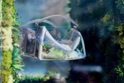 Plexiglas Abstractie Plastic bag with green plants reflects on the mirror surface as a concept of modern art