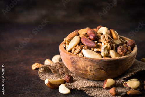 Nuts assortment in a bowl.