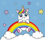 unicorn caught from a rainbow. sky with stars and hearts