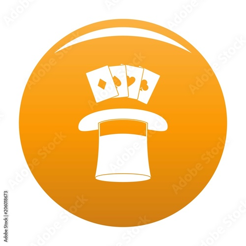 Hat with card icon. Simple illustration of hat with card vector icon for any design orange